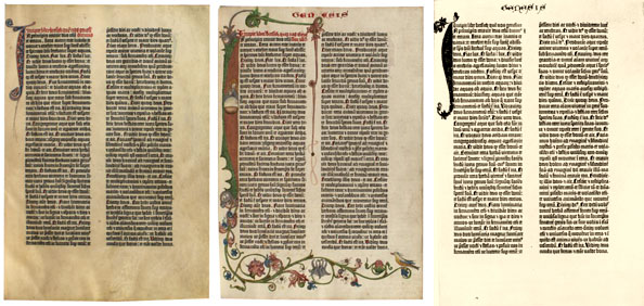 Three copies of the Gutenberg Bible
